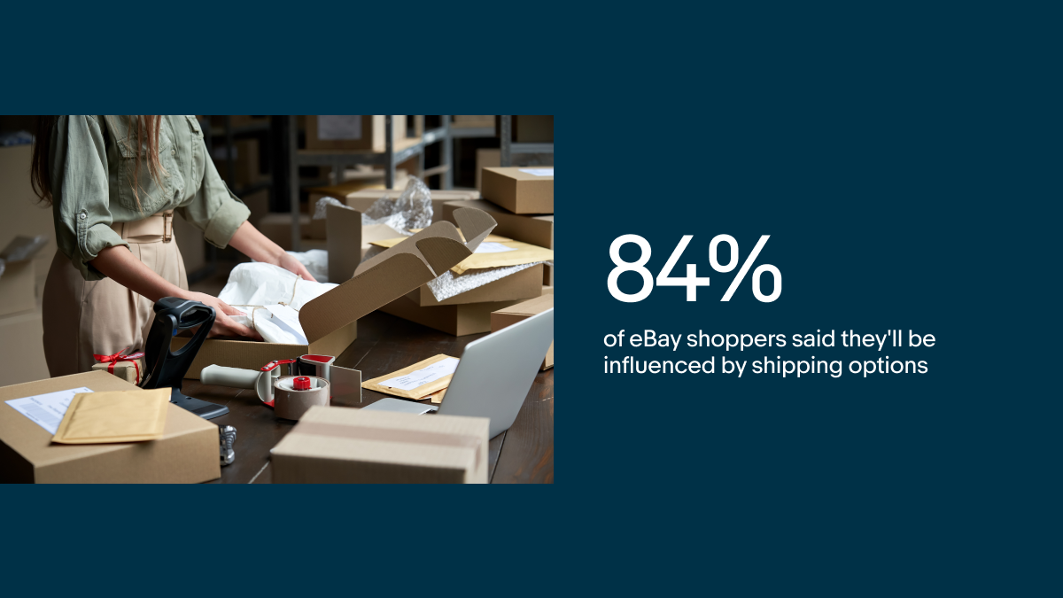 """Image with text that says """"84% of eBay shoppers said they'll be influenced by shipping options"""""""